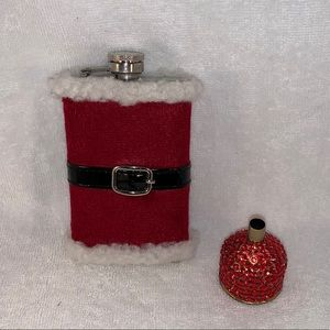 RED SANTA SUIT FLASK & RED RHINESTONE FUNNEL NEW